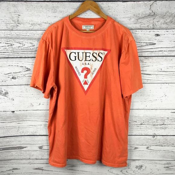 79754d8962e1 Guess Shirts | Jeans Orange Vintage Style Triangle Logo Tee | Poshmark